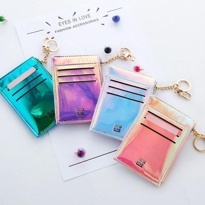 Cartera/Tarjetero de colores tornasol