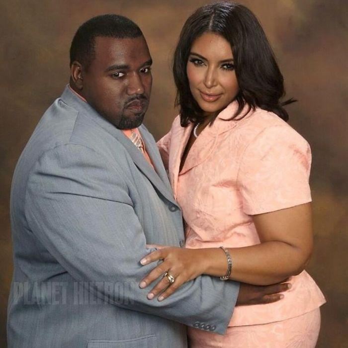 Kim Kardashian y Kanye West caracterizados como una familia de los años 80 con sobrepeso