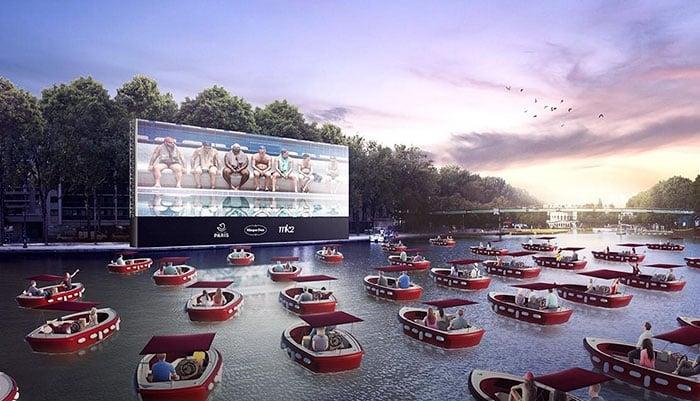 Cine flotante en Paris