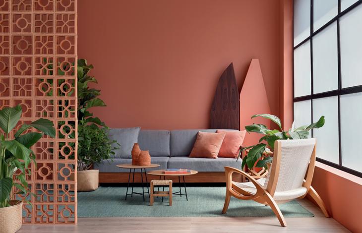 Sala de estar en colores terracota