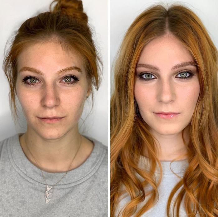 Antes y después de un maquillaje profesional