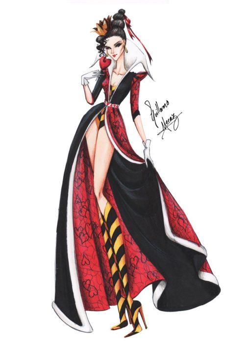 La reina de corazones dibujada por Guillermo Meraz en estilo princesa Disney