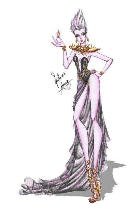 Úrsula dibujada por Guillermo Meraz en estilo princesa Disney