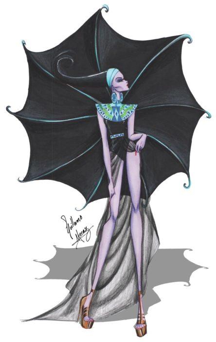 Yzma dibujada por Guillermo Meraz en estilo princesa Disney