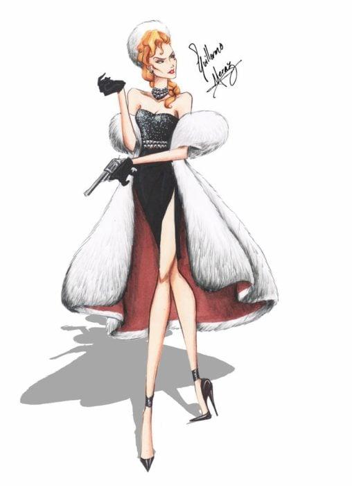 Helga Sinclair dibujada por Guillermo Meraz en estilo princesa Disney