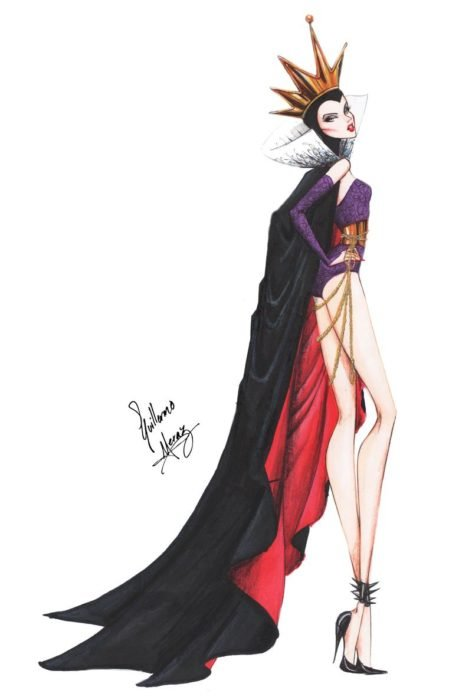 La reina malvada dibujada por Guillermo Meraz en estilo princesa Disney