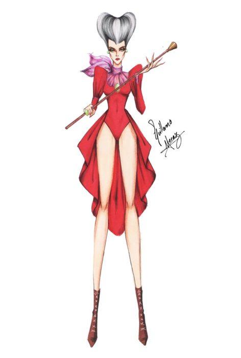 Lady Tremaine dibujada por Guillermo Meraz en estilo princesa Disney