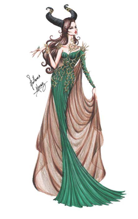 Maléfica dibujada por Guillermo Meraz en estilo princesa Disney