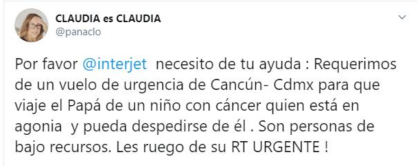Comentario en twitter para ayudar al padre de un niño con cáncer a viajar para poder verlo