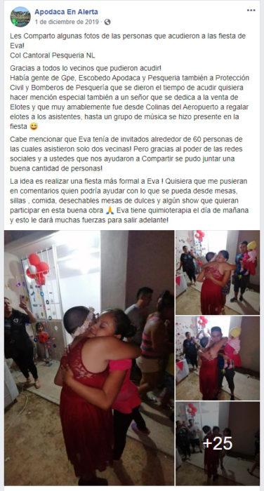 Publicación en facebook de niña que fue festejada por usuarios de redes sociales