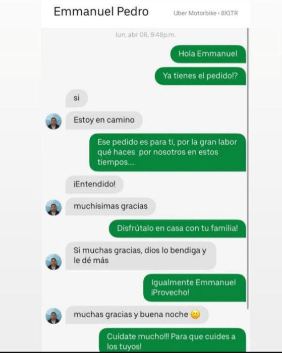 Conversación en entre un repartidor y un comprador