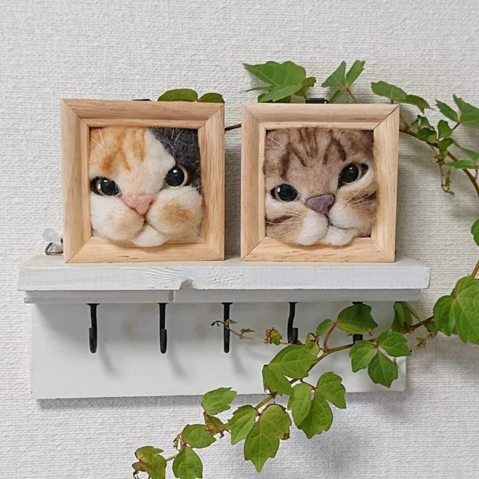 Cuadros de gatos hechos con fieltro