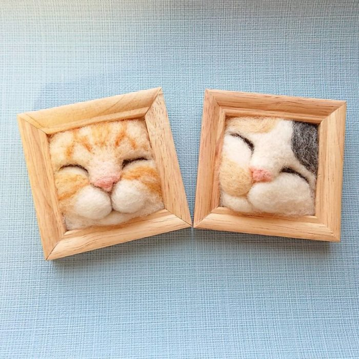 Cuadros de gato hechos con fieltro