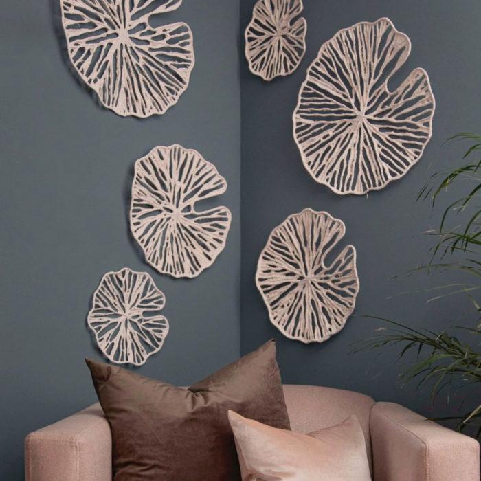 Artículos de decoración para el hogar; decoración de hojas, lirios para la pared