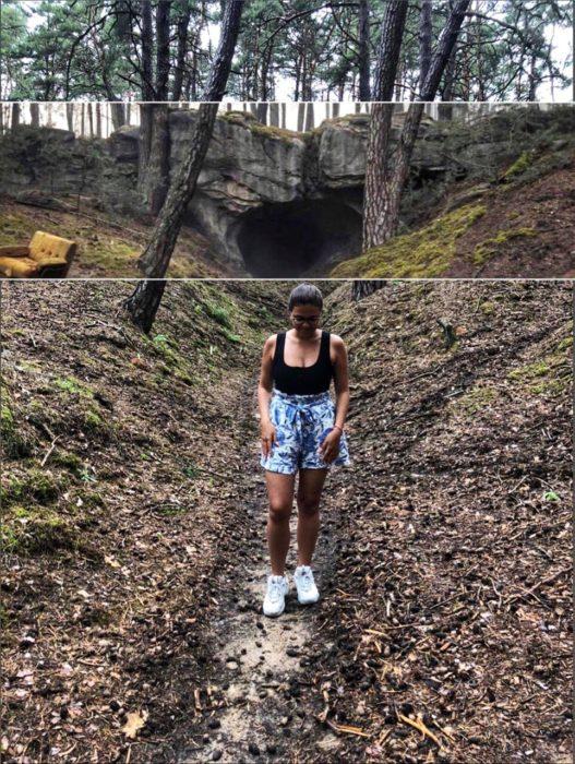 Diana Mendoza en la locación de la cueva de la serie Dark