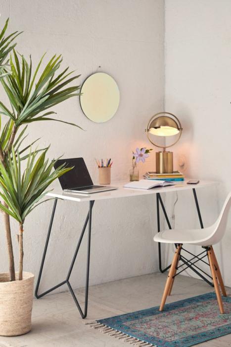 Escritorio con estilo minimalista en tono blanco y planta y lampara como adorno