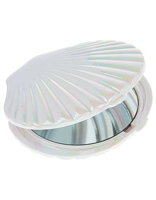 Espejo de bolsillo en forma de almeja