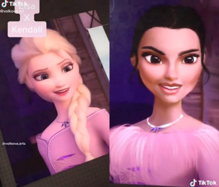Artista Lisa Volkova ilustra cómo se verían las famosas si fueran princesas Disney; Frozen, Elsa, Kendall Jenner
