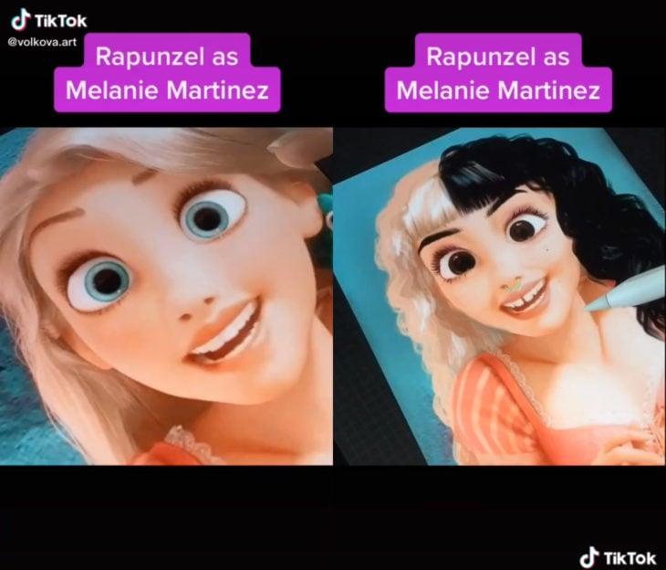 Artista Lisa Volkova ilustra cómo se verían las famosas si fueran princesas Disney; Enredados, Rapunzel, Melanie Martinez