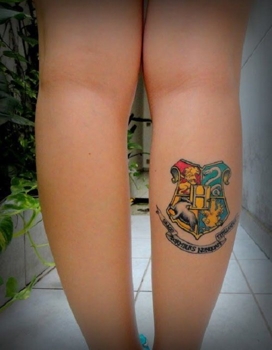 Tattoo inspired by Harry Potter, from the school shield