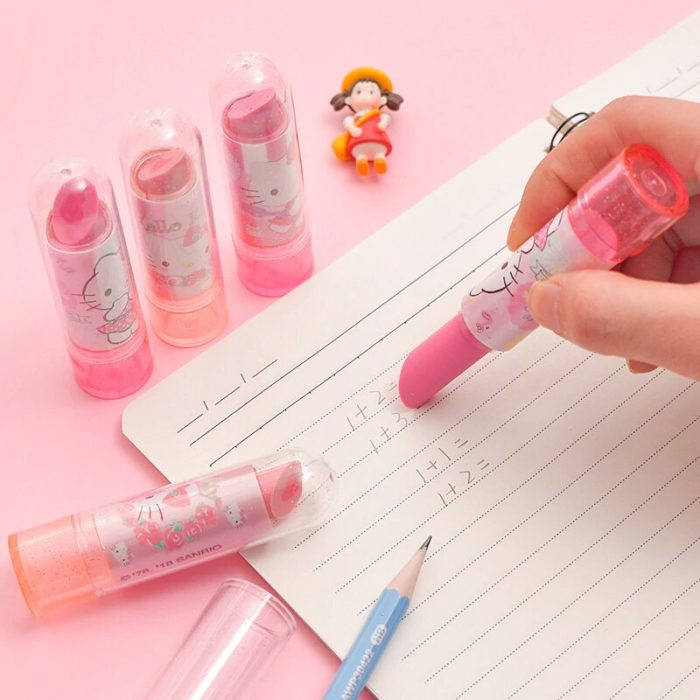 Gomas de borrar en forma de labial de Hello Kitty