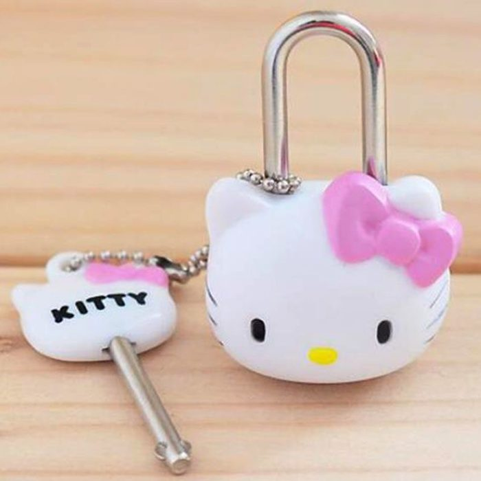 Candado y llave para locker de Hello Kitty