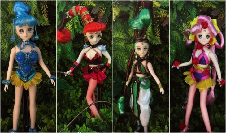 Muñeca de porcelana creada por el artista Mini Couture inspirada en el anime Sailor Moon, Cuarteto amazonas