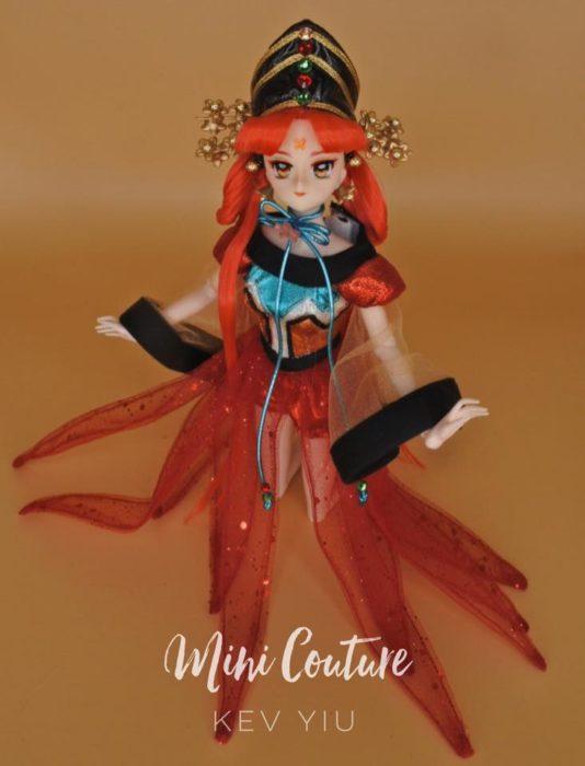 Muñeca de porcelana creada por el artista Mini Couture inspirada en el anime Sailor Moon, Princesa Kakyuu