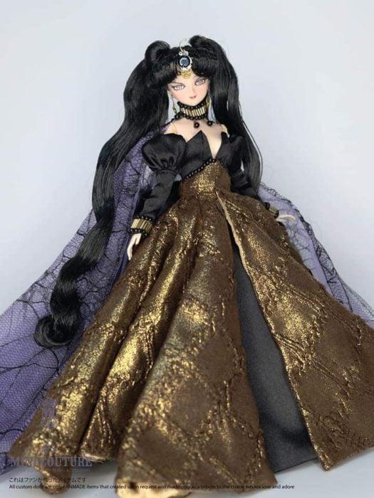 Muñeca de porcelana creada por el artista Mini Couture inspirada en el anime Sailor Moon, Reina Neherenia