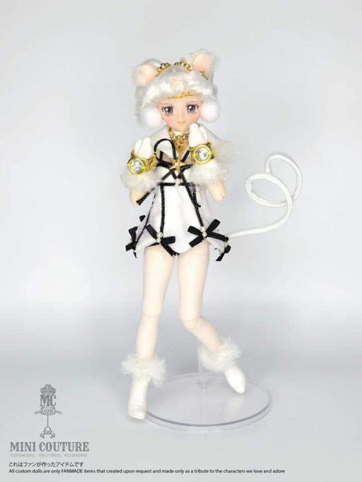 Muñeca de porcelana creada por el artista Mini Couture inspirada en el anime Sailor Moon, Sailor Iron Mouse