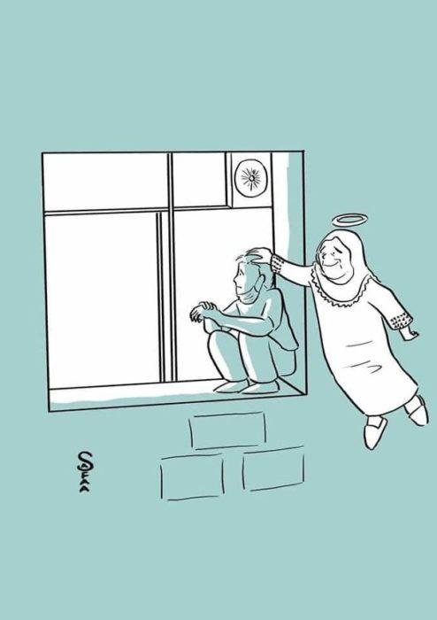 Hombre en Palestina escala a ventana del hospital para ver a su mamá ilustración