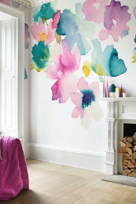 Decoración de pared estilo flores de acuarela