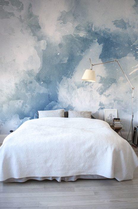 Decoración de pared con nubes