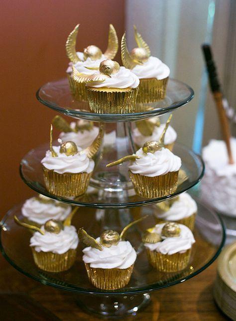 Cupcakes dorados con temática de Harry Potter