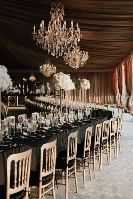Decoración de boda en color negro