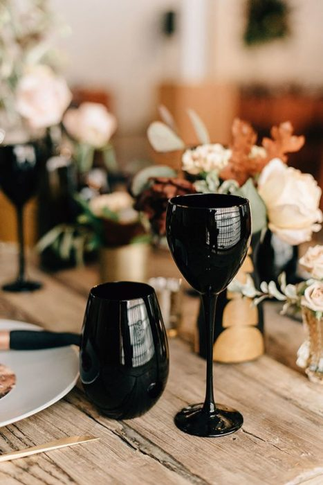 Copas para boda en negro