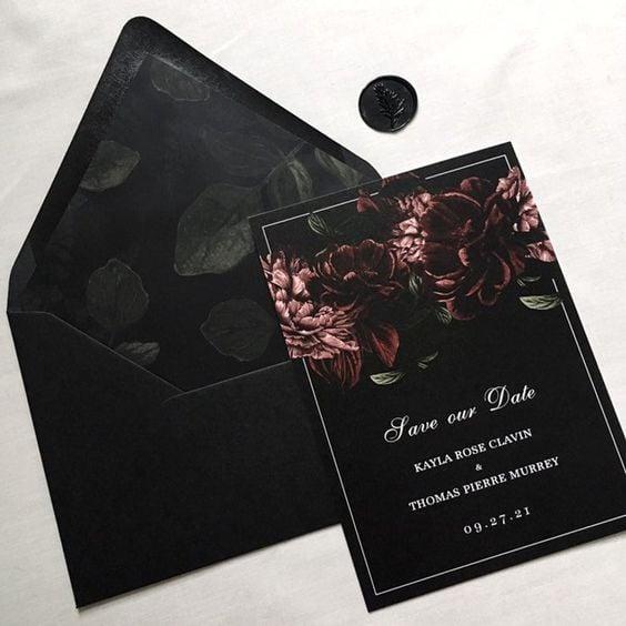 Decoración de boda en negro