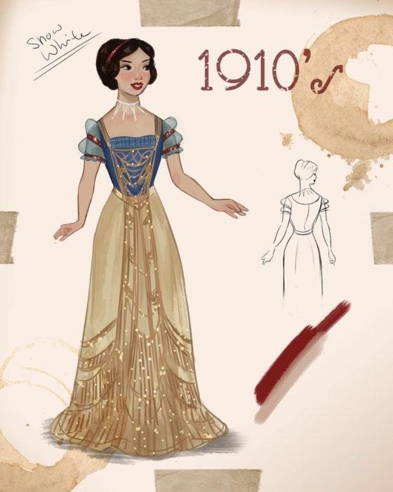 Artista Amit Naftali ilustró a las princesas Disney con vestidos de diferentes épocas; Blancanieves, ropa de mujer de 1910