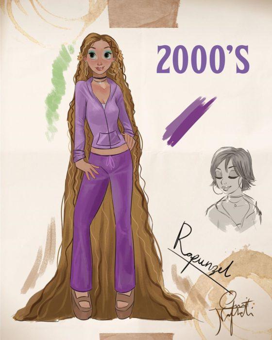 Artista Amit Naftali ilustró a las princesas Disney con vestidos de diferentes épocas; Rapunzel, Enredados, ropa de mujer del 2000