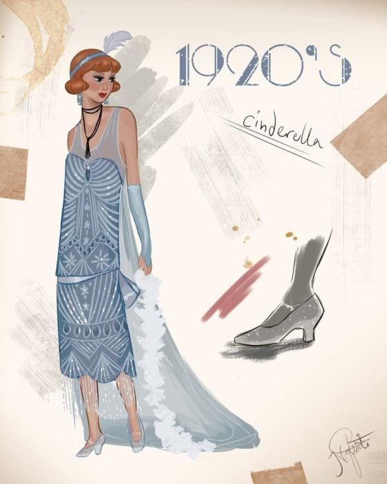 Artista Amit Naftali ilustró a las princesas Disney con vestidos de diferentes épocas; Cenicienta, ropa de mujer de 1920