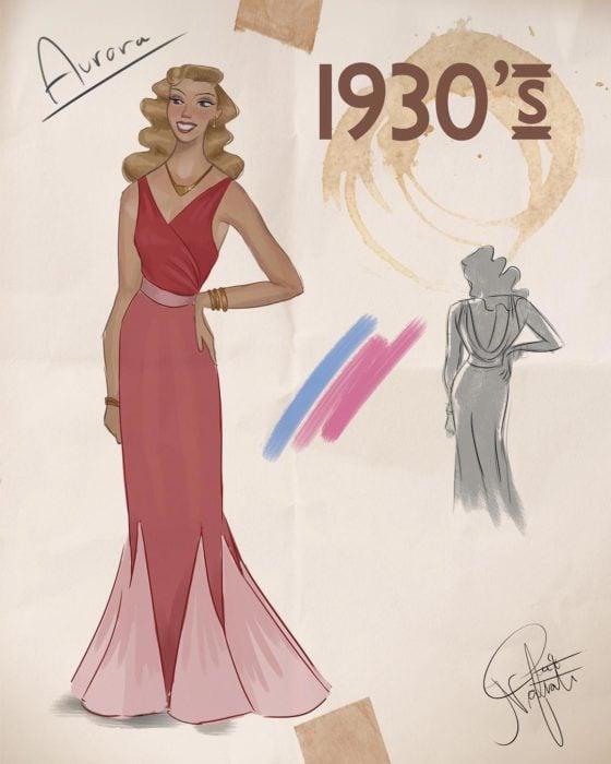 Artista Amit Naftali ilustró a las princesas Disney con vestidos de diferentes épocas; Aurora, La bella durmiente, ropa de mujer de 1930