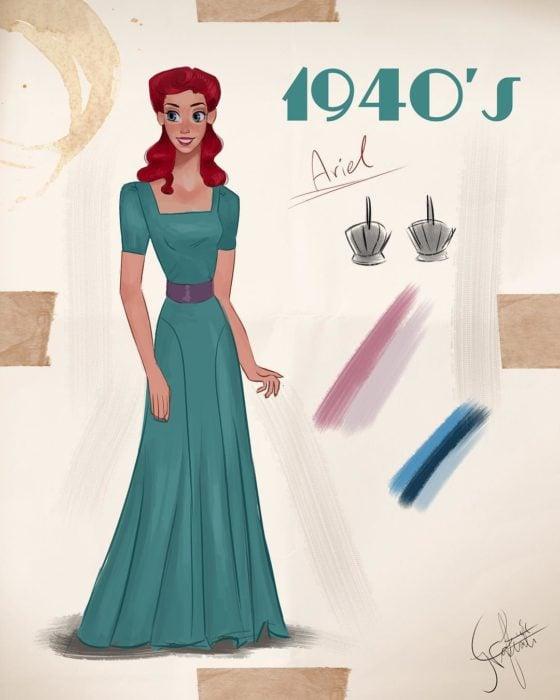 Artista Amit Naftali ilustró a las princesas Disney con vestidos de diferentes épocas; Ariel, La sirenita, ropa de mujer de 1940