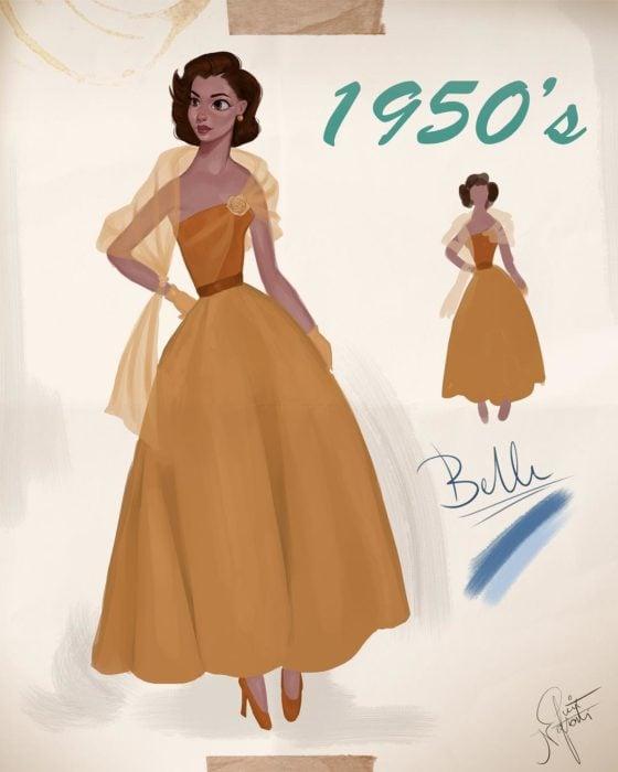 Artista Amit Naftali ilustró a las princesas Disney con vestidos de diferentes épocas; Bella, La bella y la bestia, ropa de mujer de 1950