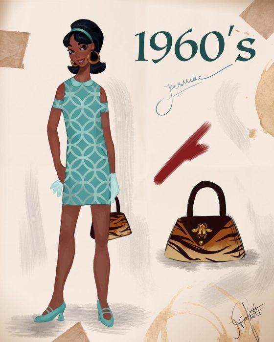 Artista Amit Naftali ilustró a las princesas Disney con vestidos de diferentes épocas; Jasmín, Aladdín, ropa de mujer de 1960