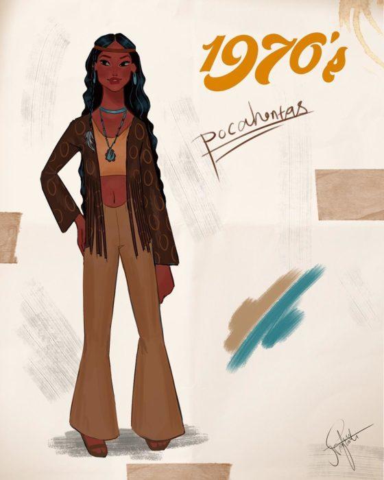Artista Amit Naftali ilustró a las princesas Disney con vestidos de diferentes épocas; Pocahontas, ropa de mujer de 1970