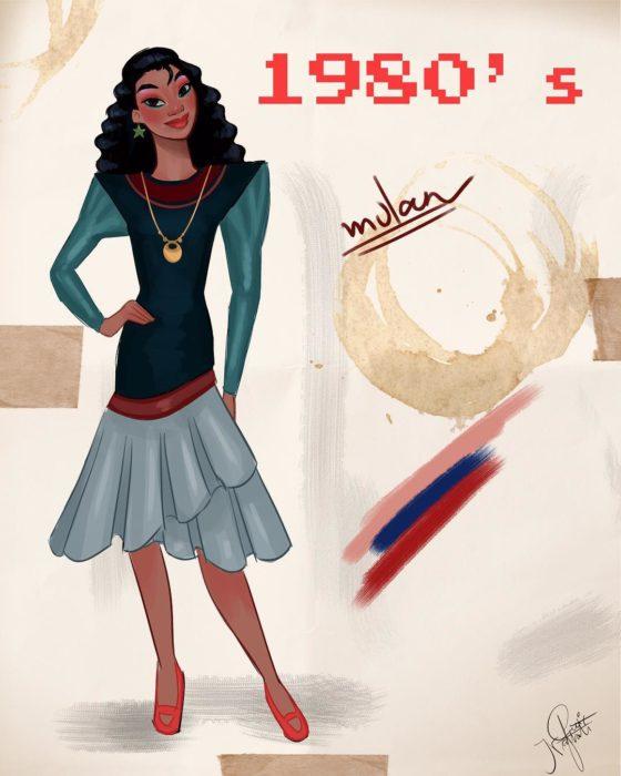 Artista Amit Naftali ilustró a las princesas Disney con vestidos de diferentes épocas; Mulan, ropa de mujer de 1980