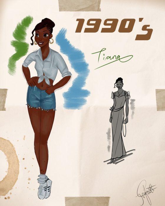 Artista Amit Naftali ilustró a las princesas Disney con vestidos de diferentes épocas; Tiana, La princesa y el sapo, ropa de mujer de 1990
