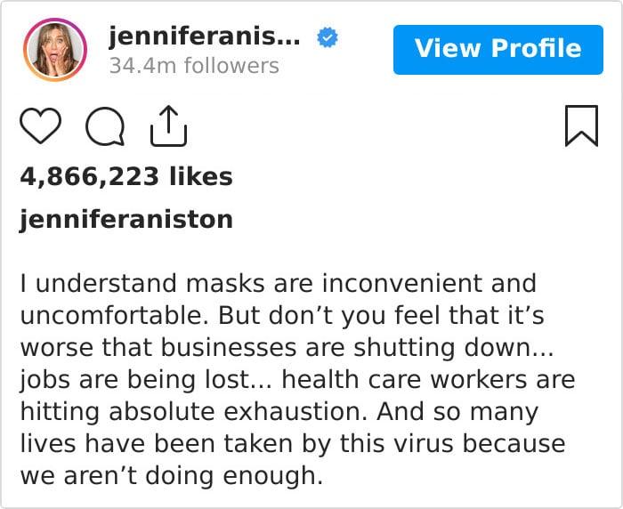 Publicación de Jennifer Aniston para instar al uso de cubre boca