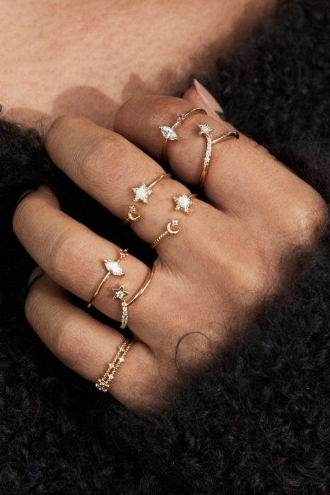 Universe-inspired rings with star accents on each