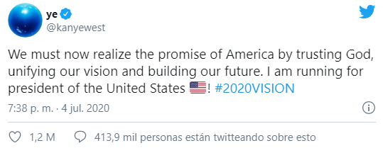 Kanye West por la presidencia de EU tuit